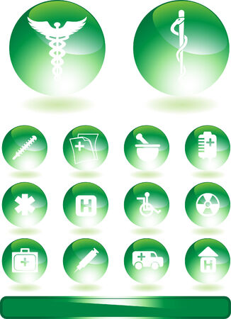 Green Medical Icons isolated on a white background. Ilustracja