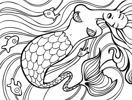 gold fish: Mermaid swimming in the ocean with gold fish. Illustration