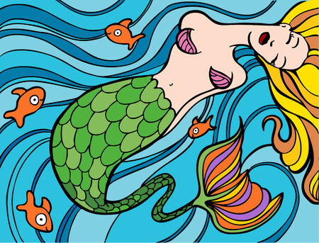Mermaid swimming in the ocean with gold fish. Vector