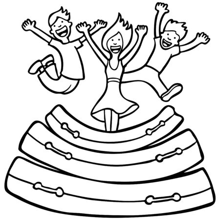 mattress: Mattress Jumping Line Art isolated on a white background. Illustration