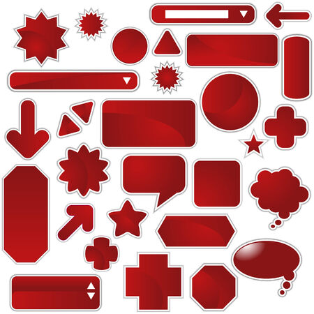 Red Web Sticker Set isolated on a white background. Vector