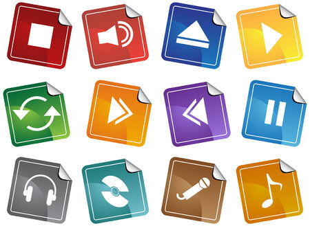Media Player Sticker Icon Set isolated on a white background.