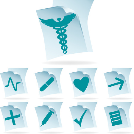 medical documents isolated on a white background.