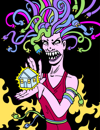 angry sky: power surge drawing of a medusa woman with electrical cord hair.