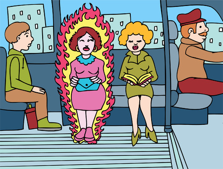 hot woman: Menopause Woman on a bus having a hot flash.