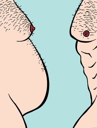 hairy chest: Profile view of two male torsos fat and muscular.
