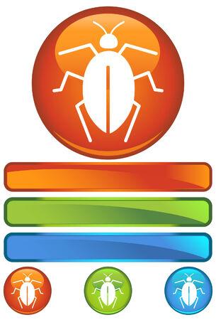 roach: bug orange round isolated on a white background.