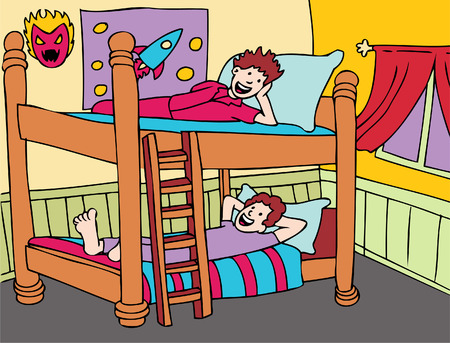 bedroom design: Kid Talk on bunkbeds with children ready for bed.