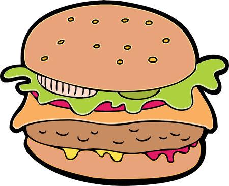 Hamburger cartoon geïsoleerd op een witte achtergrond.