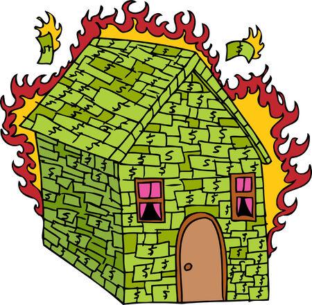 Brennende Geld Haus auf einem weißen Hintergrund isoliert. Vektorgrafik