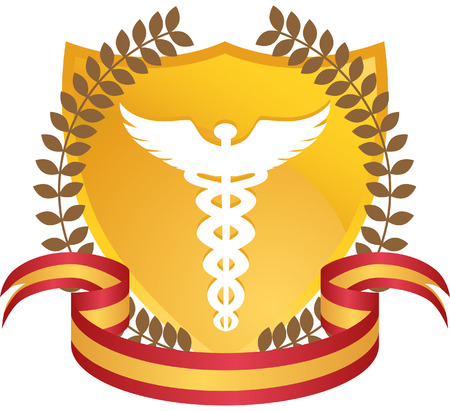 medical emblem: Caduceus Wreat isolated on a white background.