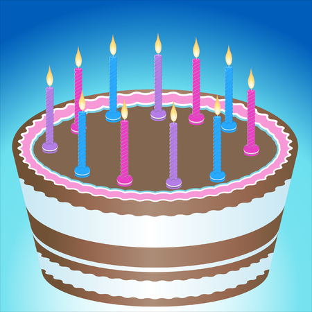 Birthday Cake with candles isolated on blue background.