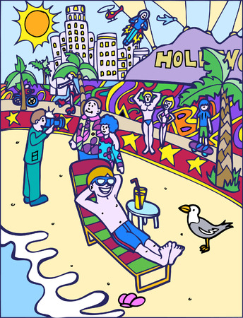 hollywood: hollywood cartoon of people at Venice Beach.