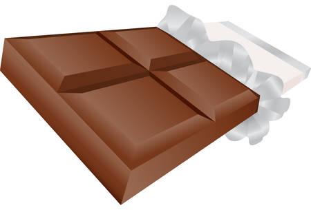 barra de chocolate: Barra de chocolate, aislado en un fondo blanco. Vectores