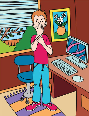 carpal tunnel syndrome: Carpal Tunnel Syndrome cartoon of a man with a sore wrist. Illustration