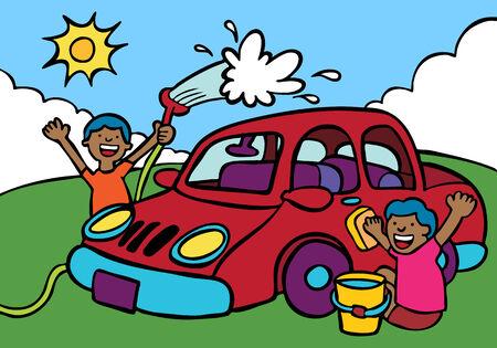 car wash fundraiser ethnic with men washing a vehicle.