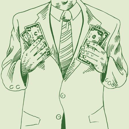 Dibujo de hombre de dinero de un chico con dos puñados de dinero en efectivo.  Foto de archivo - 5710044