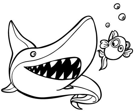 shark chasing goldfish line art
