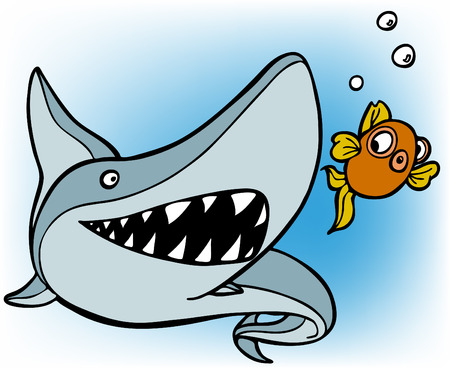 shark chasing goldfish