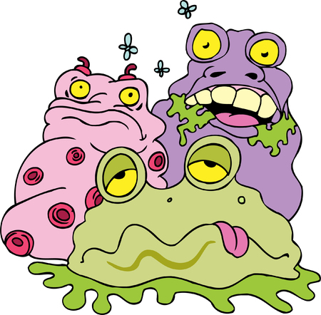 filth: garbage monsters isolated on a white background. Illustration