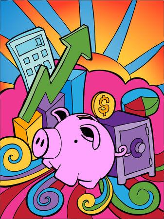 金融銀行漫画の異なる要素と組み合わせます。