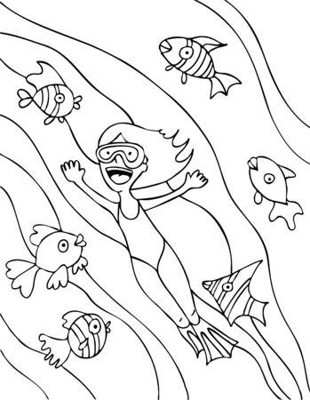 Girl Ocean Swimming Line Art in basic black and white. Vector