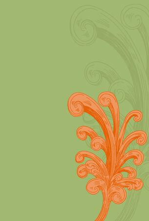 녹색 및 주황색 그림 그리기 장식 Flourishes.