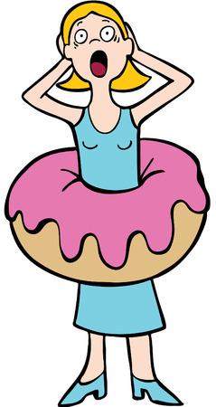 Donna si rammarica che mangiare un biscotto che fa lei sentire grasso.