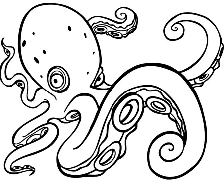 Octopus swimming line art Stock Vector - 5716811