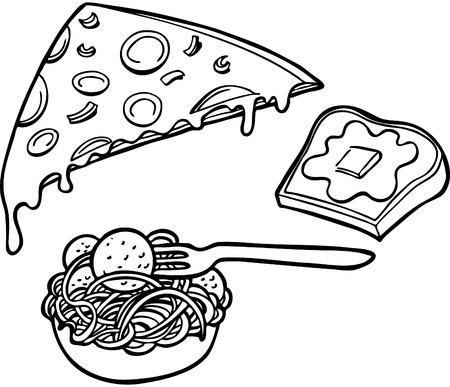 Italiaanse voedsel items Line Art Stock Illustratie