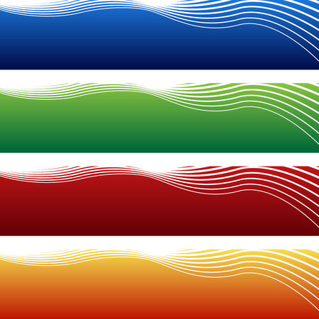 horizontal wave banner isolated on a white background. Vectores