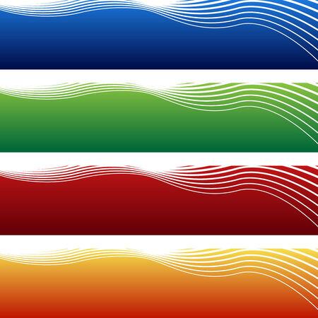 horizontal: horizontal wave banner isolated on a white background. Illustration