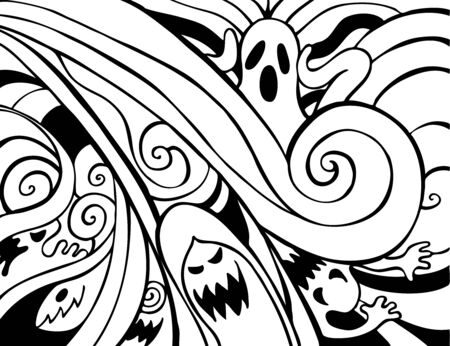 white background: Halloween Ghosts collaged background image in black and white.