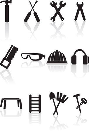 白い背景で隔離されたツール セット。  イラスト・ベクター素材