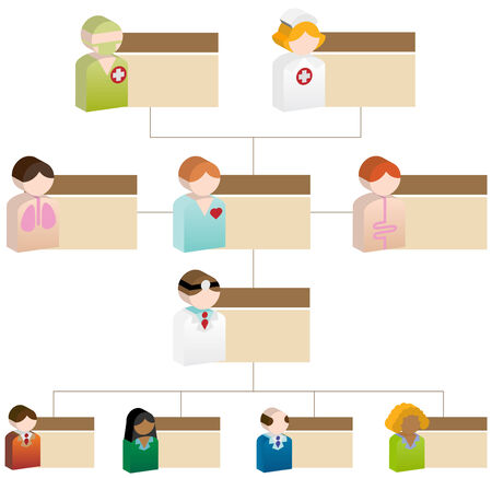 interracial: Medial Org Chart isolated on a white background. Illustration