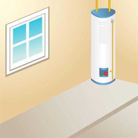 calentador: Habitaci�n de calentador de agua dentro de un �rea de garaje.