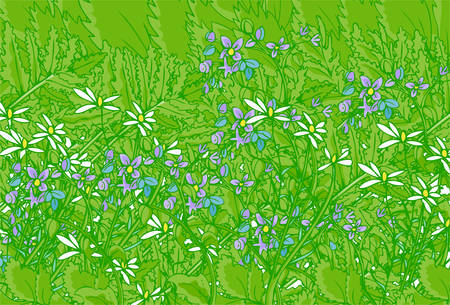 flower background of man different types of plants. Ilustrace