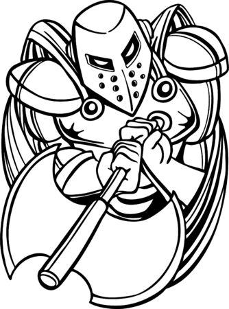 Knight holding Axe Line Art