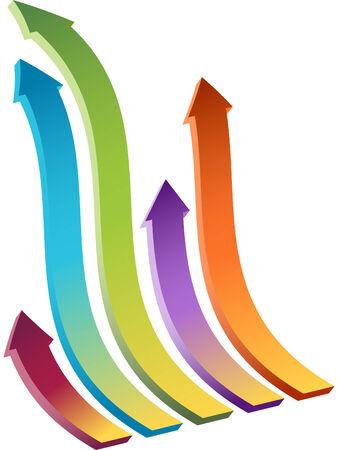 Set of Four wavy arrows moving upward.
