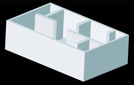 흰색 배경에 고립 된 인테리어 건물 그래픽입니다.