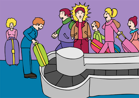 Lost Luggage cartoon of man trying to find his suitcase. Vector