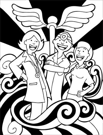 equipe medica: Medici Team Cartoon Line Art isolato su uno sfondo bianco.