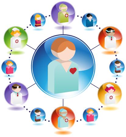 patient: Mannelijke Patient Medical Network geïsoleerd op een witte achtergrond. Stock Illustratie