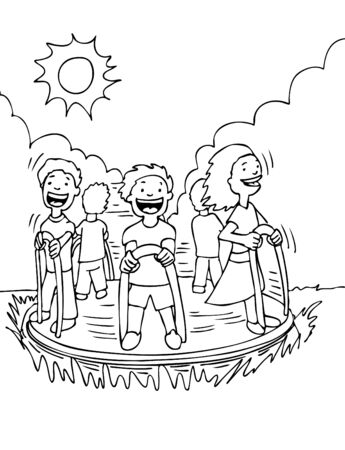 Kids on Merry Go Round black and white cartoon drawing. Illustration
