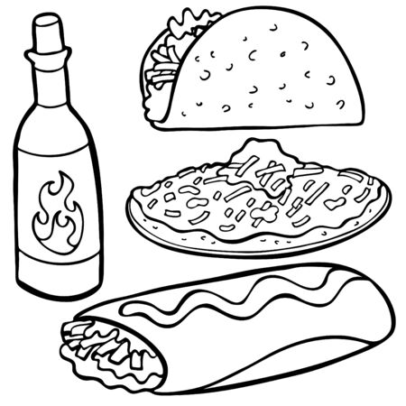 Mexican Food Items Line Art isolated on a white background. Vector