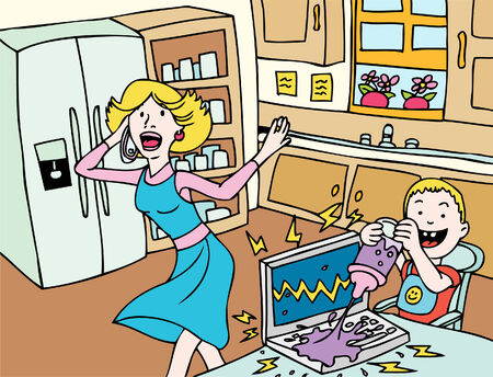 mother and baby: Cartoon of a baby breaking moms laptop computer.