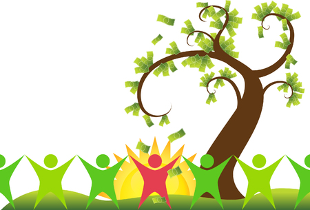 tree isolated: money tree people isolated on a white background.