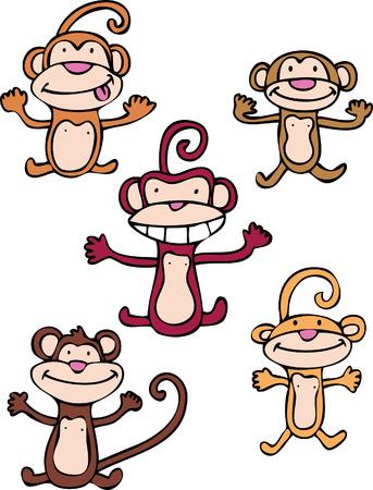apenstreken set geïsoleerd op een witte achtergrond.