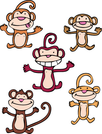 monkey set isolated on a white background. Ilustração