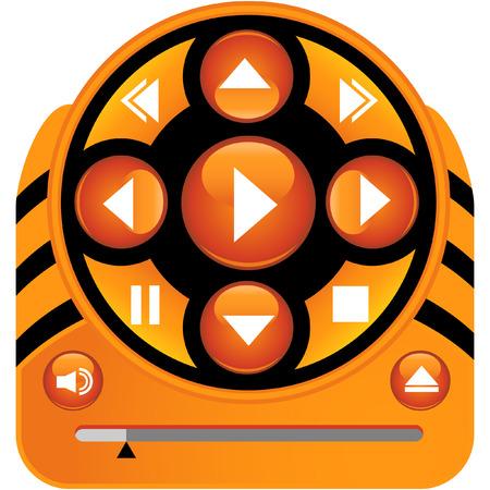 メディア プレーヤー オレンジは、白い背景で隔離。